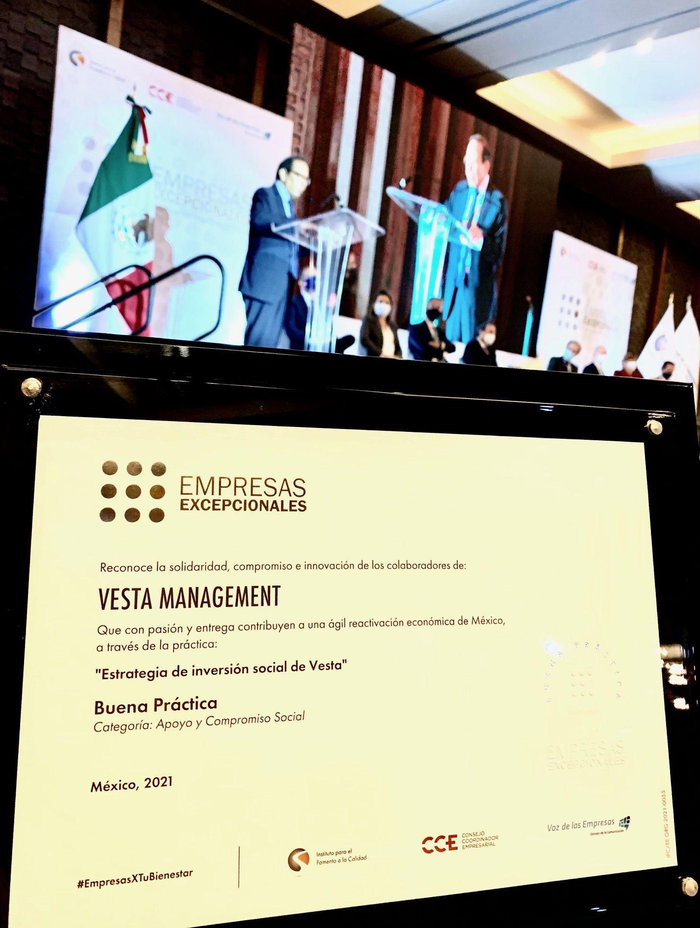 Distinguen a Vesta  con el Reconocimiento Empresas Excepcionales 2021